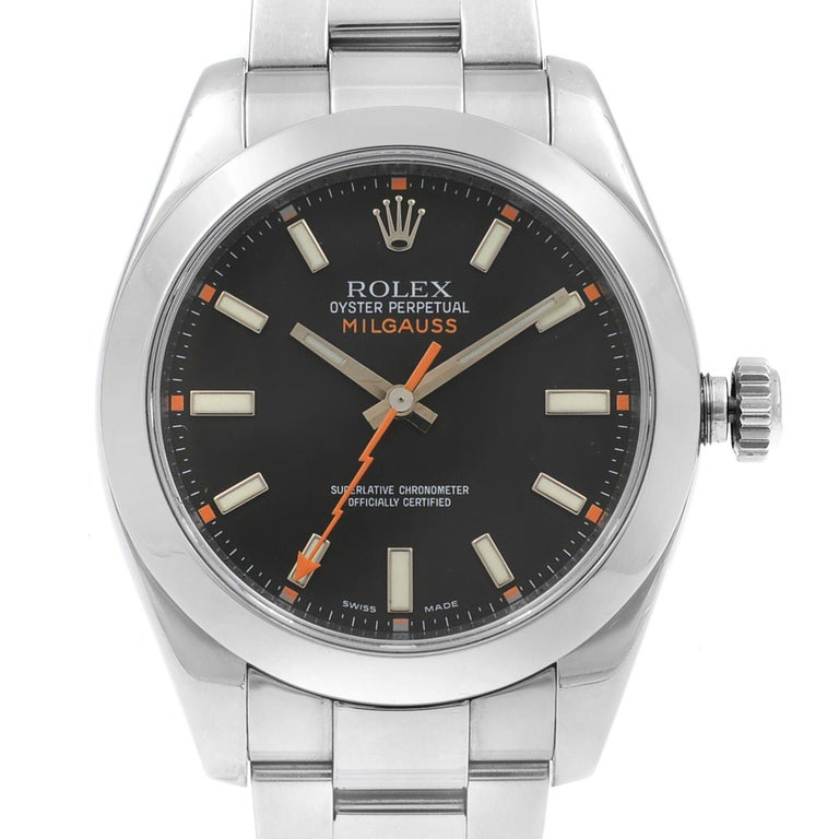 2007 Card. Excellent Preowned Condition Rolex Milaguess Watch. Comes with manufacturers box, papers, and both Rolex hang tags. Backed by a 1-year Chronostore warranty. Details: Model Number 116400 BKO Brand Rolex Department Men Style Dress/Formal,