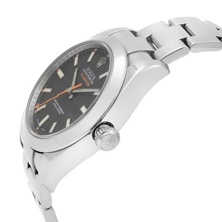 Men's Rolex Milgauss Steel Black Dial Orange Hand Automatic Men's Watch 116400 BKO For Sale