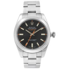 Rolex Milgauss Steel Black Dial Orange Hand Automatic Men's Watch 116400 BKO