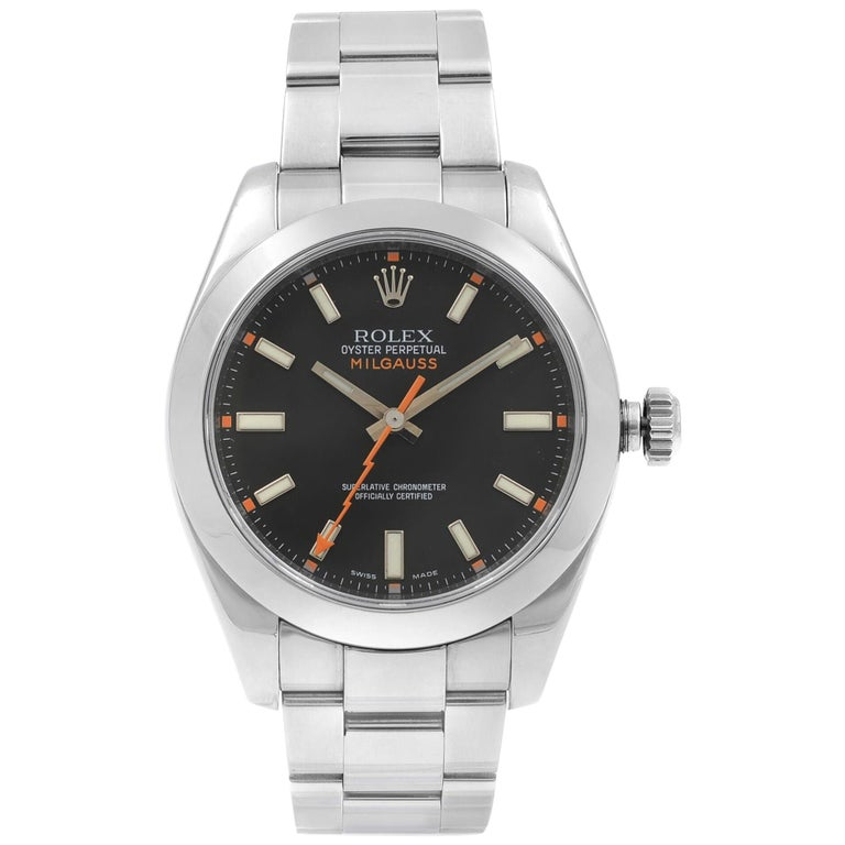 Rolex Milgauss Steel Black Dial Orange Hand Automatic Men's Watch 116400 BKO For Sale