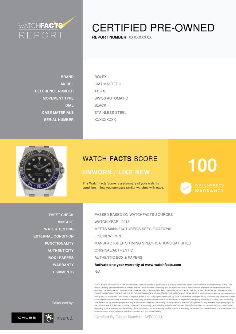 Men's Rolex New GMT-Master II 116710BLNR Steel Batman Box/Paper/Warranty 'Unworn' For Sale