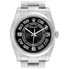 Rolex No Date Men's Black Concentric Dial Stainless Steel Watch 116000