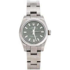 Rolex Olive Green Stainless Steel Oyster Perpetual 176200OVSO Women's Wristwatch
