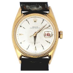 Rolex Ovettone Datejust Model 6305 Watch 18 Karat Gold