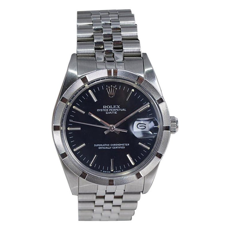 Rolex Oyster Date Perpetual Stainless Steel with Original Certificate, 1970 For Sale