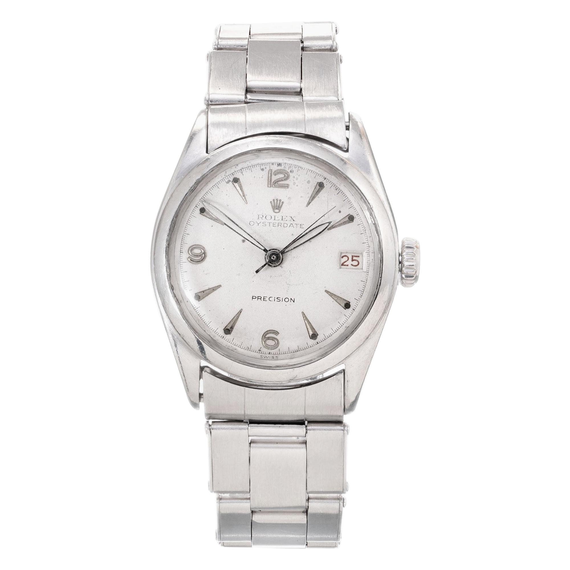 Rolex Oyster Date Precision Stainless Steel Men's Wristwatch Ref 6066
