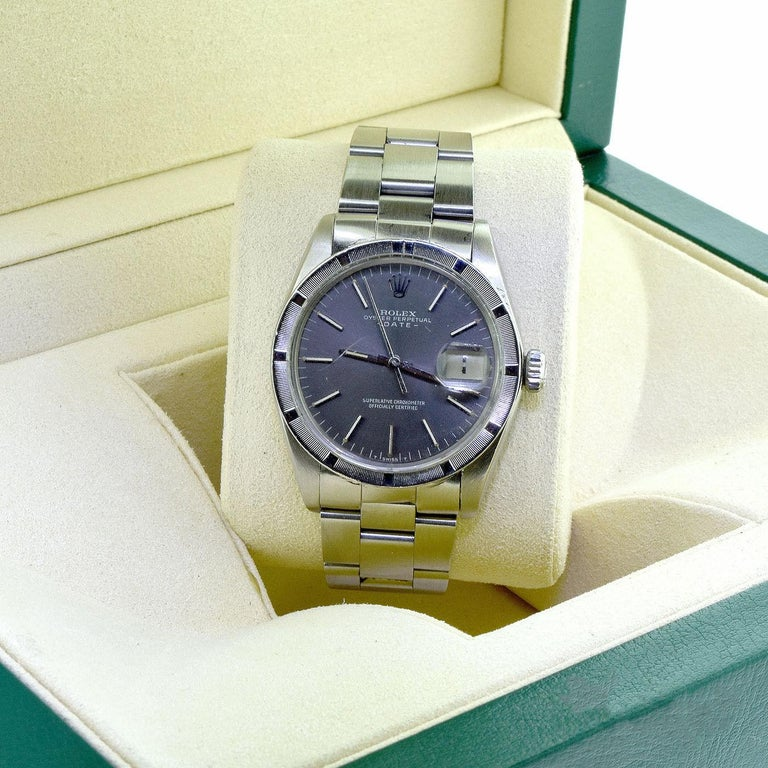 Brilliance Jewels, Miami Questions? Call Us Anytime! 786,482,8100  Designer: Rolex  Model Name: Date  Model Number: 1501   Movement: Automatic  Case Size:  34 mm  Case Material: Stainless Steel  Dial: Blue Dial, Stick Hour Markers  Bracelet