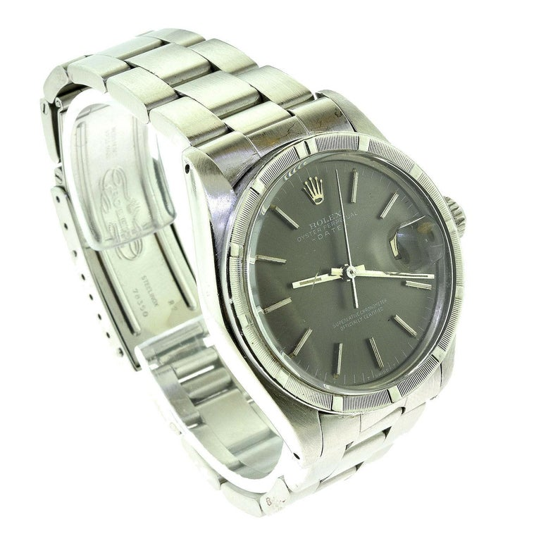 Rolex Oyster Date Ref.1501 Steel Blue Champagne Dial Watch, 'R-7' In Good Condition For Sale In Miami, FL