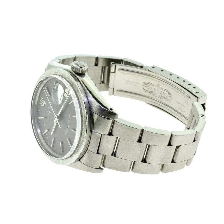 Women's or Men's Rolex Oyster Date Ref.1501 Steel Blue Champagne Dial Watch, 'R-7' For Sale