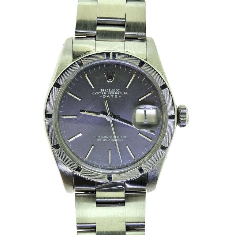 Rolex Oyster Date Ref.1501 Steel Blue Champagne Dial Watch, 'R-7' For Sale 3