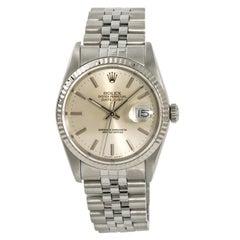 Rolex Oyster Datejust 16234 Men's Automatic Stainless 18 Karat White Gold Bezel