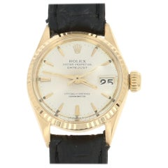 Rolex Oyster Datejust Ladies Superlative Leather 18K Gold Serviced Warranty 6517