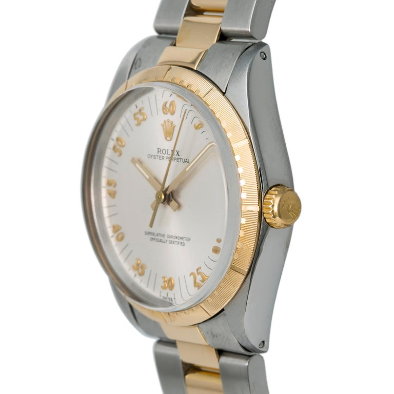 Contemporary Rolex Oyster Perpetual 1038 Automatic Unisex Watch Two-Tone 18k YG For Sale