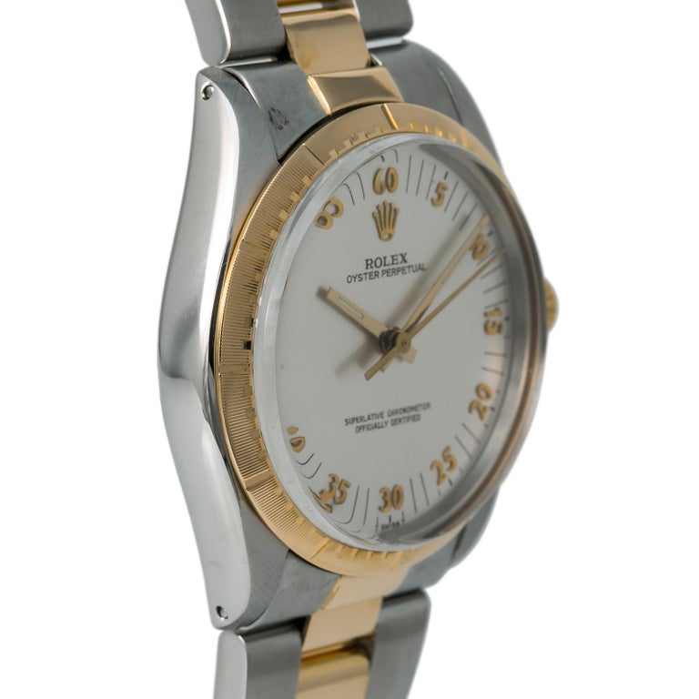 Rolex Oyster Perpetual 1038 Automatic Unisex Watch Two-Tone 18k YG In Good Condition For Sale In Miami, FL