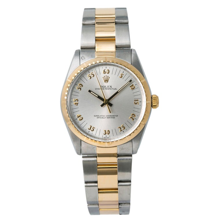 Rolex Oyster Perpetual 1038 Automatic Unisex Watch Two-Tone 18k YG For Sale