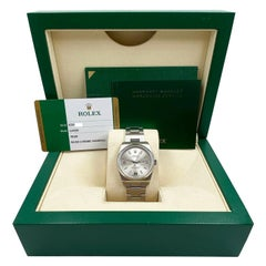 Rolex Oyster Perpetual 114200 Silver Dial Stainless Steel Box Papers