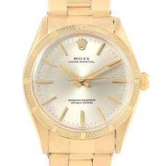 Rolex Oyster Perpetual 14 Karat Yellow Gold Vintage Watch 1007 Box Papers