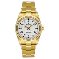 Rolex Oyster Perpetual 14208 18K Yellow Gold Men's Watch Box & Papers