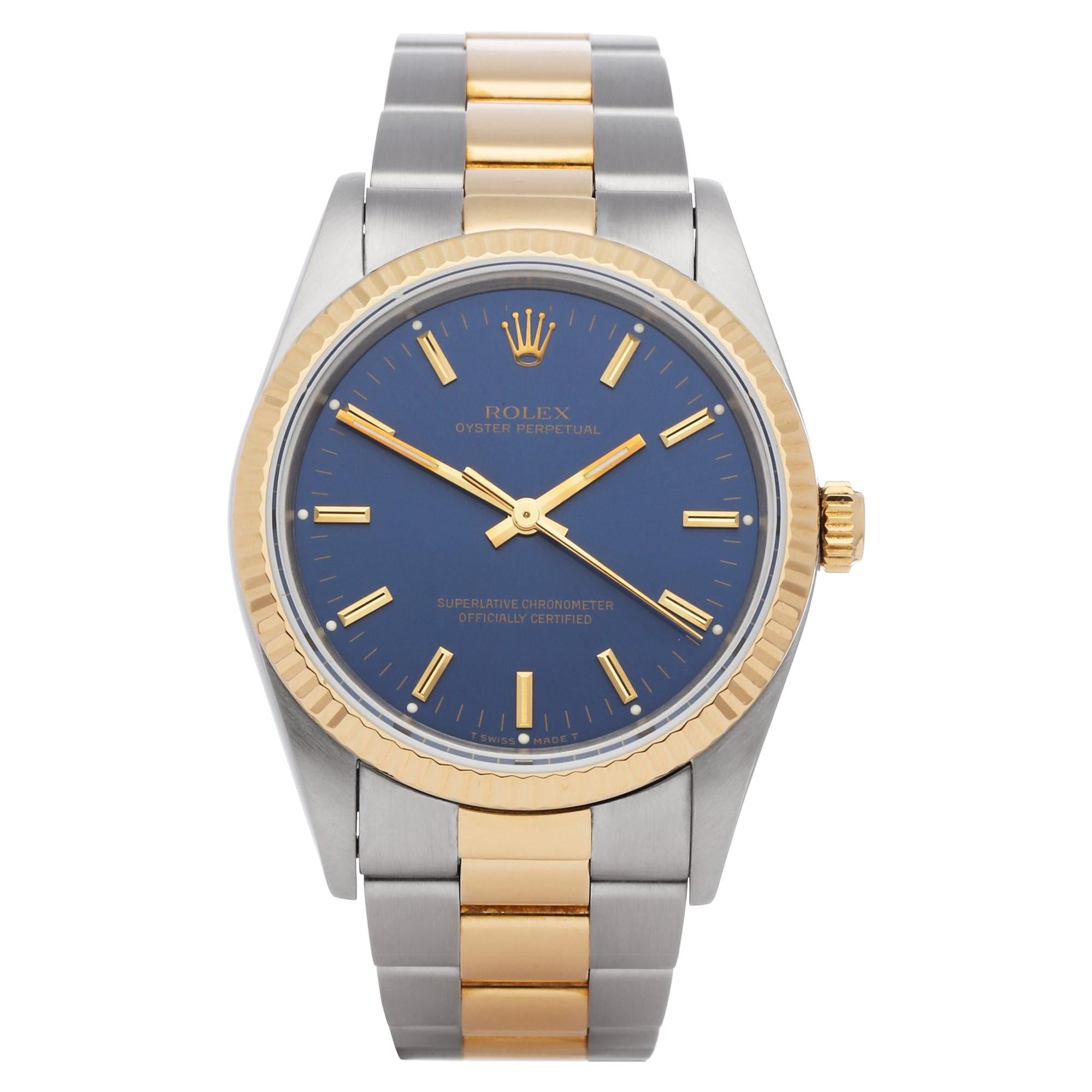 Rolex Oyster Perpetual 14233 Unisex Stainless Steel and Yellow Gold Watch