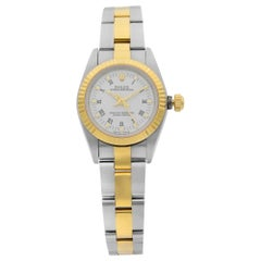Rolex Oyster Perpetual 18 Karat Gold Steel White Roman Dial Ladies Watch 76193
