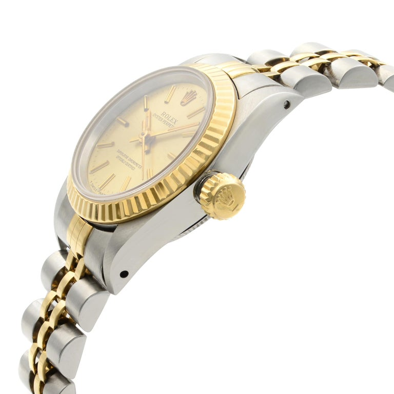 Men's Rolex Oyster Perpetual 18k Yellow Gold Steel Champagne Dial Ladies Watch 67193 For Sale