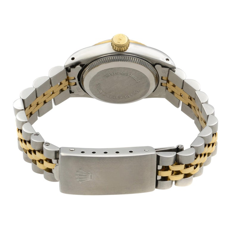 Rolex Oyster Perpetual 18k Yellow Gold Steel Champagne Dial Ladies Watch 67193 For Sale 1