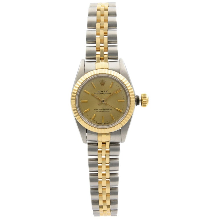Rolex Oyster Perpetual 18k Yellow Gold Steel Champagne Dial Ladies Watch 67193 For Sale