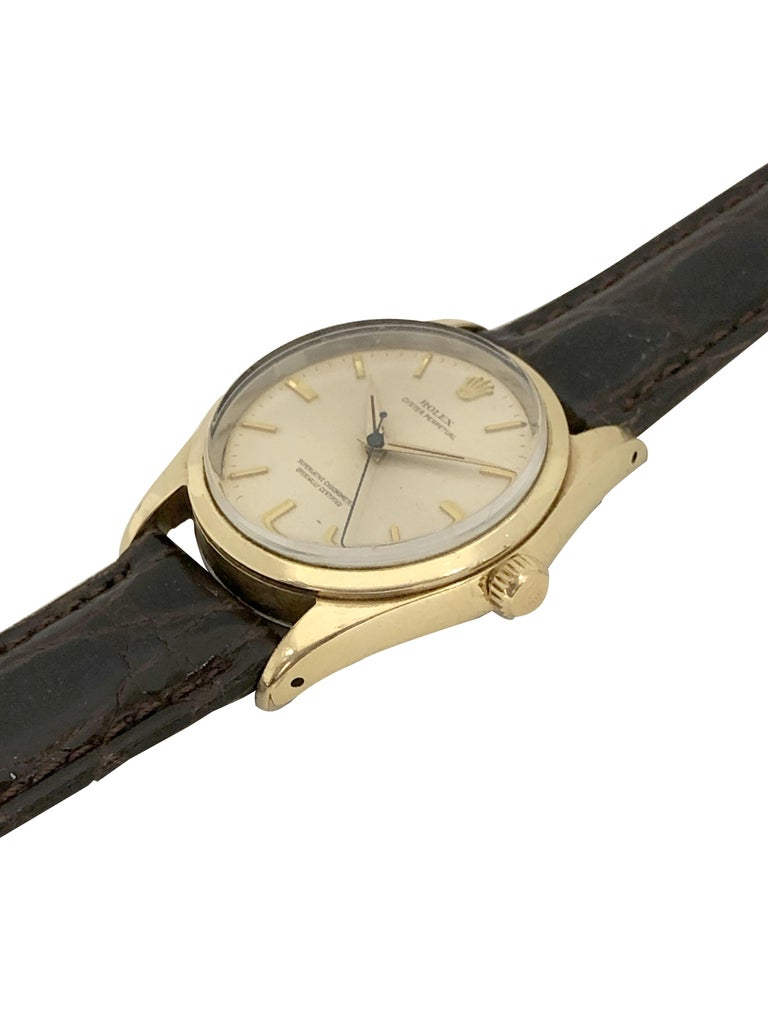 Rolex Oyster Perpetual 1980 Ref 1014 Gold Shell Automatic Wristwatch In Excellent Condition In Chicago, IL