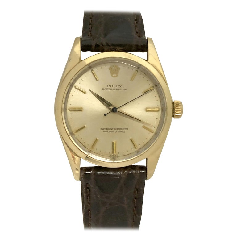 Rolex Oyster Perpetual 1980 Ref 1014 Gold Shell Automatic Wristwatch