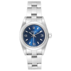 Rolex Oyster Perpetual 24 Blue Dial Ladies Watch 76080 Box Papers