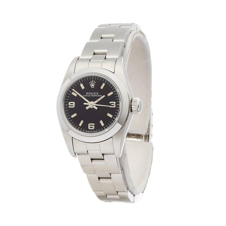 Ref: W4943 Manufacturer: Rolex Model: Oyster Perpetual Model Ref: 61780 Age:  Gender: Ladies Complete With: Xupes Presentation Box Dial: Black Arabic Glass: Sapphire Crystal Movement: Automatic Water Resistance: To Manufacturers Specifications Case: