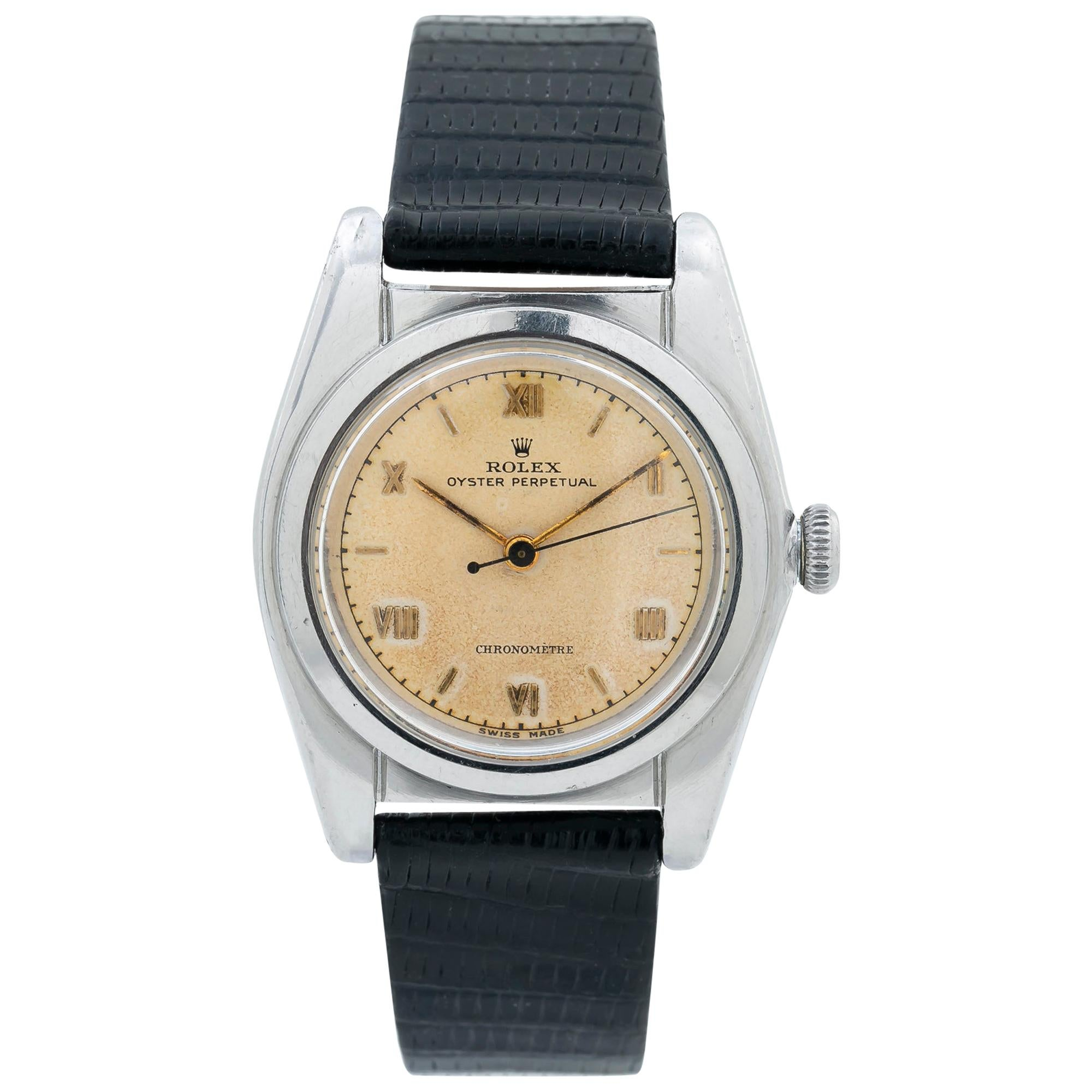 Rolex Oyster Perpetual 2940 Bubble Back Vintage Patina Automatic Watch SS