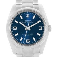 Rolex Oyster Perpetual 34 Blue Dial Oyster Bracelet Watch 114200 Unworn