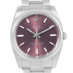 Rolex Oyster Perpetual 34 Red Grape Dial Steel Men's Watch 114200 Unworn