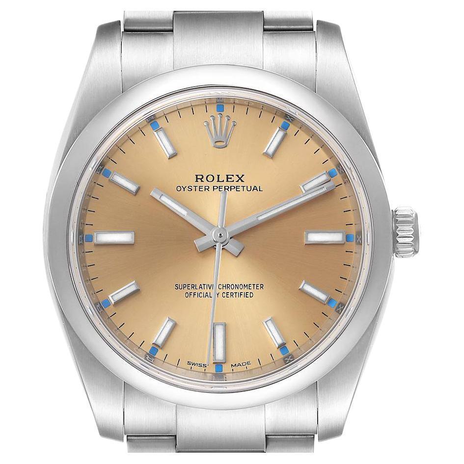 Rolex Oyster Perpetual White Grape Dial Steel Mens Watch 114200 Unworn
