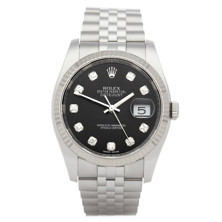 Rolex Oyster Perpetual 36 116234 Men's Stainless Steel Diamond Watch For Sale