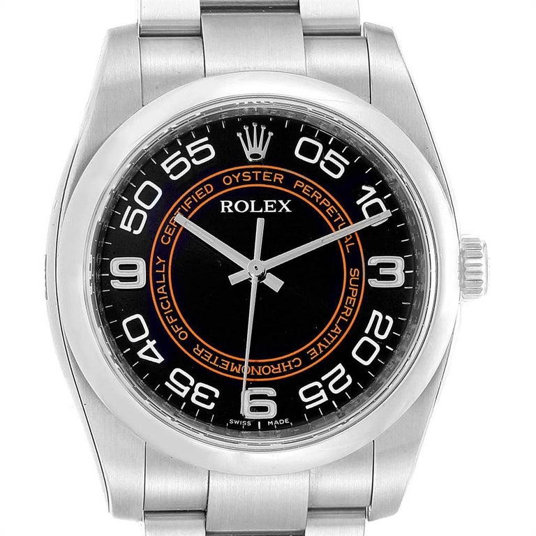 Rolex Oyster Perpetual 36 White Harley Dial Mens Watch 116000 Unworn. Officially certified chronometer self-winding movement. Stainless steel case 36.0 mm in diameter. Rolex logo on a crown. Stainless steel smooth domed bezel. Scratch resistant