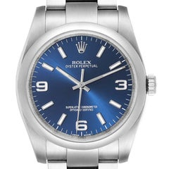 Rolex Oyster Perpetual Blue Dial Steel Mens Watch 116000