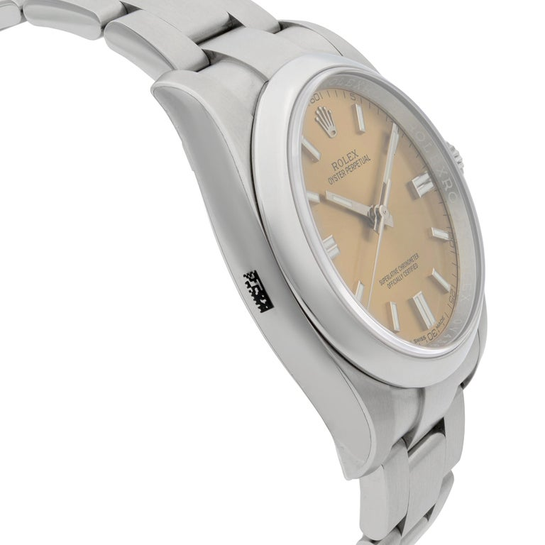 Rolex Oyster Perpetual Steel White Grape Dial Men's Watch 116000WGSO For Sale 1