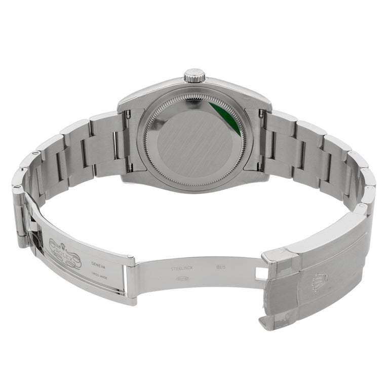 Rolex Oyster Perpetual Steel White Grape Dial Men's Watch 116000WGSO For Sale 2