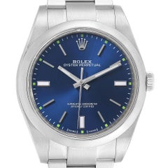 Rolex Oyster Perpetual 39 Blue Dial Steel Men's Watch 114300 Box Card