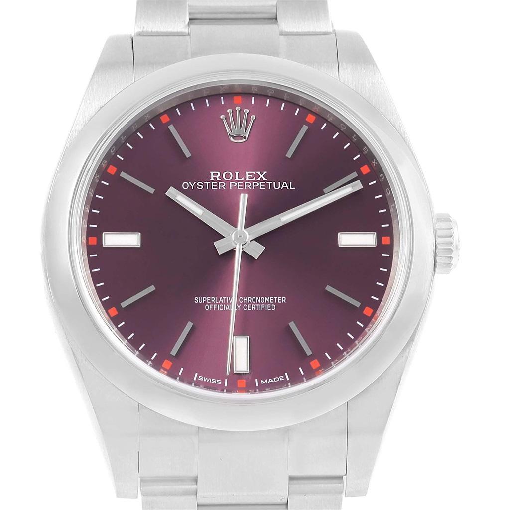 Rolex Dial Perpetual Oyster Grape Men's 39 Red Steel Watch 114300 Box hrtsQdCx