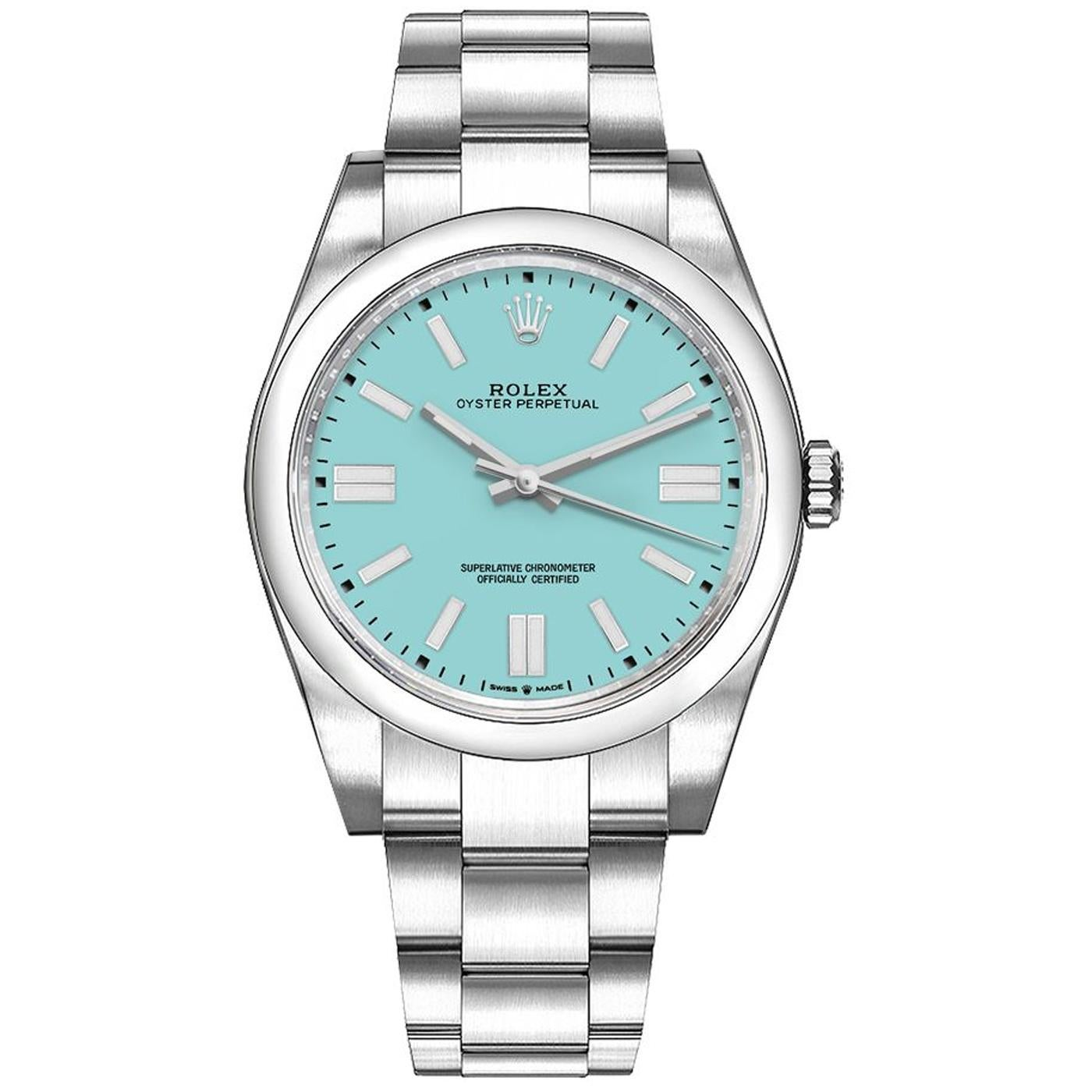 Rolex Oyster Perpetual Turquoise Blue Dial Stainless Steel Watch 124300