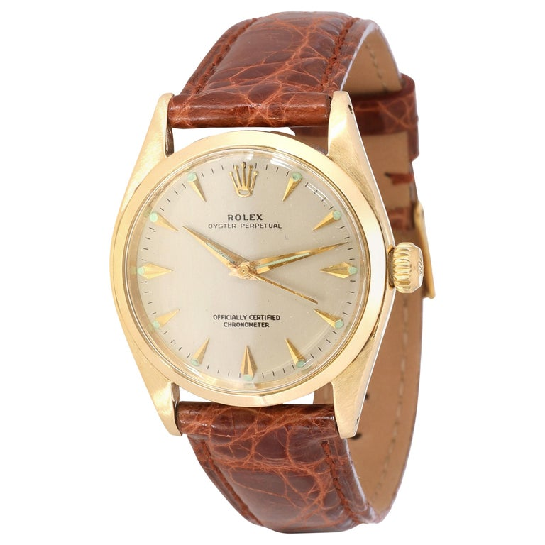 Rolex Oyster Perpetual 6548 Unisex Watch in 14 Karat White Gold/Yellow Gold For Sale