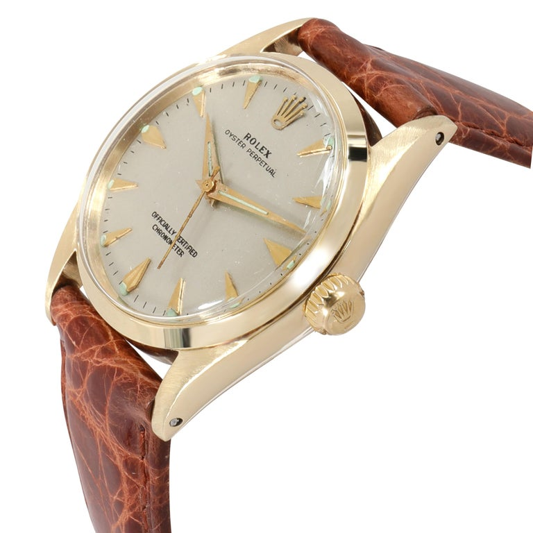 Rolex Oyster Perpetual 6548 Unisex Watch in 14 Karat White Gold/Yellow Gold In Excellent Condition For Sale In New York, NY