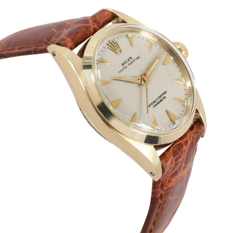 Women's or Men's Rolex Oyster Perpetual 6548 Unisex Watch in 14 Karat White Gold/Yellow Gold For Sale