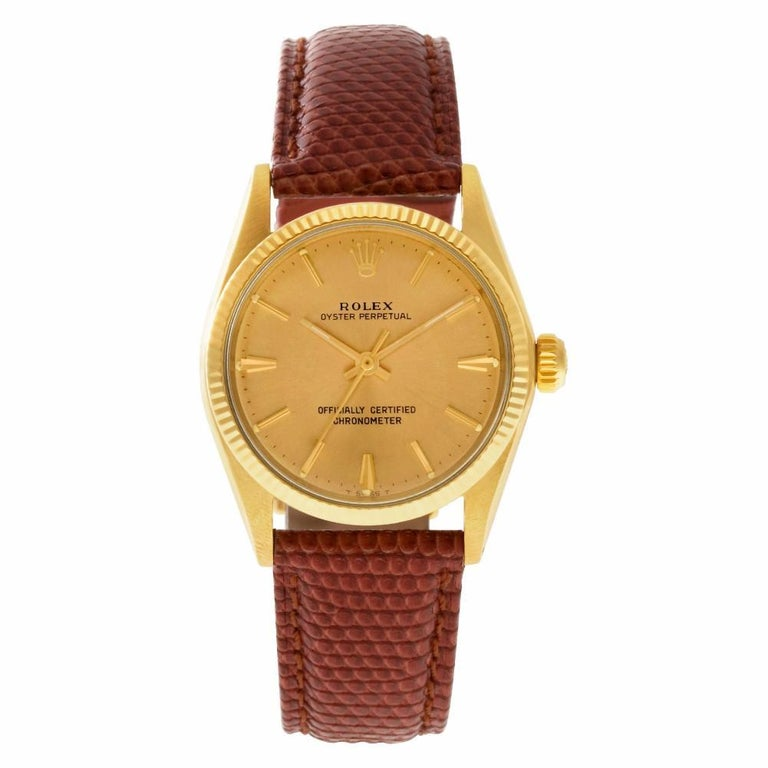 Rolex Oyster Perpetual 6551 14 Karat Gold Dial Auto Watch 'Certified  Authentic'