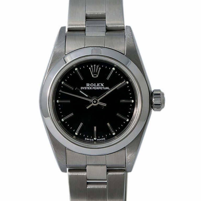 Women's Rolex Oyster Perpetual 76080, Black Dial, Certified and Warranty For Sale