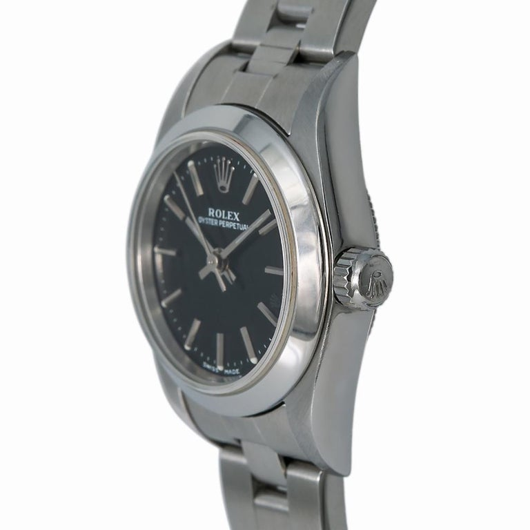 Rolex Oyster Perpetual 76080, Black Dial, Certified and Warranty For Sale 1