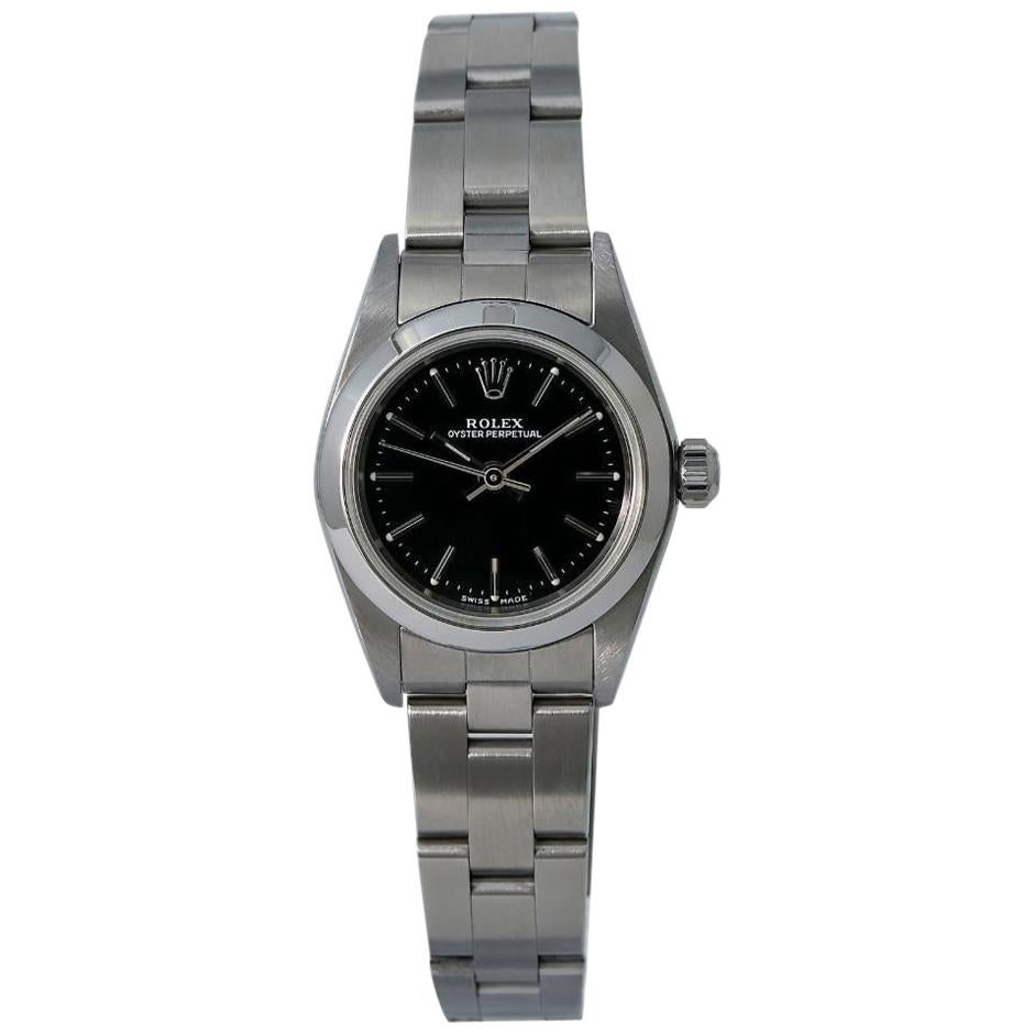 Rolex Oyster Perpetual 76080 Lady Automatic Watch Black Dial Stainless Steel